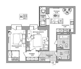 ЖК «Расцветай на Красном», планировка 3-комнатной квартиры, 68.10 м²