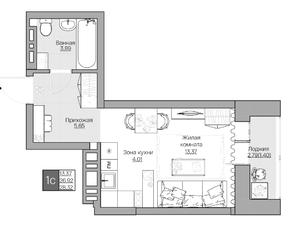ЖК «Расцветай на Красном», планировка 1-комнатной квартиры, 28.30 м²