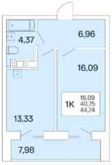 ЖК «Расцветай на Маркса», планировка 1-комнатной квартиры, 44.70 м²