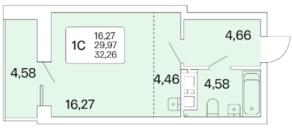 ЖК «Расцветай на Маркса», планировка студии, 32.20 м²
