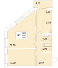 ЖК «Дом на Шамшиных», планировка 3-комнатной квартиры, 85.04 м²