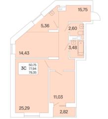 ЖК «Дом на Шамшиных», планировка 3-комнатной квартиры, 79.30 м²