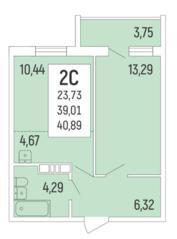 ЖК «Акация на Ватутина», планировка 2-комнатной квартиры, 40.80 м²