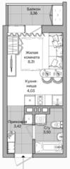 ЖК «Акация на Ватутина», планировка студии, 20.94 м²
