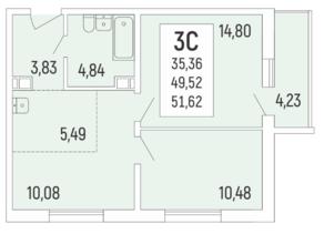 ЖК «Акация на Ватутина», планировка 3-комнатной квартиры, 51.60 м²