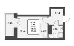 ЖК «Расцветай на Ядринцевской», планировка студии, 22.81 м²