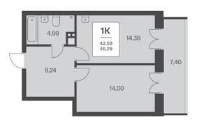 ЖК «Расцветай на Ядринцевской», планировка 1-комнатной квартиры, 46.29 м²