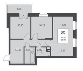 ЖК «Расцветай на Ядринцевской», планировка 3-комнатной квартиры, 56.96 м²