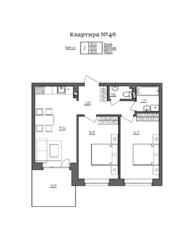 МЖК «Счастье 2.0», планировка 2-комнатной квартиры, 60.66 м²