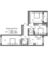 МЖК «Счастье 2.0», планировка 3-комнатной квартиры, 76.65 м²