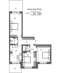 МЖК «Счастье 2.0», планировка 3-комнатной квартиры, 79.74 м²