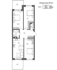 МЖК «Счастье 2.0», планировка 3-комнатной квартиры, 88.84 м²