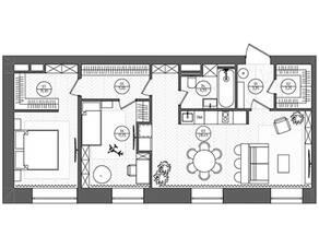 МФК «Sinatra», планировка 2-комнатной квартиры, 73.60 м²