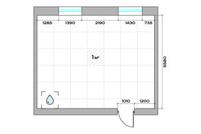 МФК «Sinatra», планировка 1-комнатной квартиры, 39.20 м²