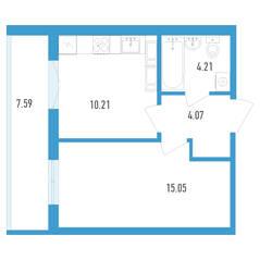 ЖК «Аэросити», планировка 1-комнатной квартиры, 37.34 м²