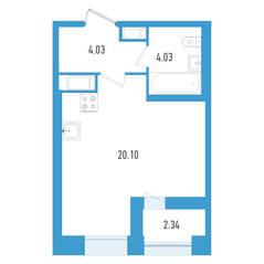 ЖК «Дефанс», планировка студии, 29.33 м²