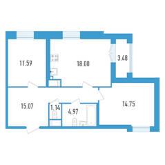 ЖК «Дефанс», планировка 2-комнатной квартиры, 67.26 м²