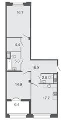 ЖК «Futurist», планировка 2-комнатной квартиры, 78.50 м²