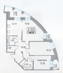 ЖК «Приморский квартал», планировка 2-комнатной квартиры, 88.08 м²