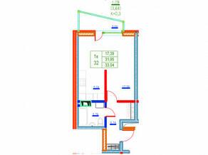 ЖК «Ново-Антропшино», планировка 1-комнатной квартиры, 33.04 м²