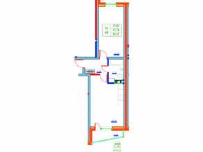 ЖК «Ново-Антропшино», планировка 1-комнатной квартиры, 45.47 м²