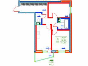 ЖК «Ново-Антропшино», планировка 2-комнатной квартиры, 51.43 м²