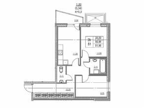 ЖК «Ново-Антропшино», планировка 2-комнатной квартиры, 51.96 м²