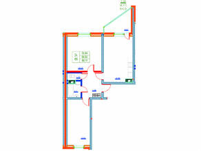 ЖК «Ново-Антропшино», планировка 2-комнатной квартиры, 69.11 м²