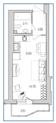 ЖК «Лондон Парк», планировка студии, 26.99 м²