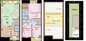 МЖК «Ломоносовская усадьба», планировка 4-комнатной квартиры, 152.30 м²