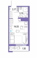 ЖК «Европейский парк», планировка студии, 21.82 м²