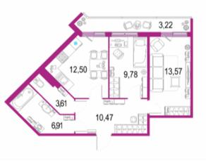 ЖК «Европейский парк», планировка 2-комнатной квартиры, 60.06 м²