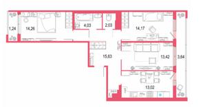 ЖК «Европейский парк», планировка 3-комнатной квартиры, 81.59 м²