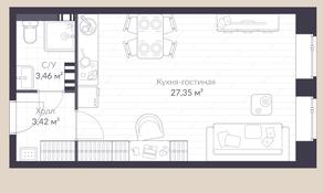 МЖК «Veren Village стрельна», планировка студии, 34.20 м²