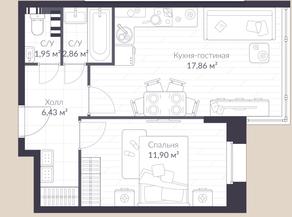 МЖК «Veren Village стрельна», планировка 1-комнатной квартиры, 41.00 м²
