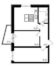 ЖК «Медем», планировка 2-комнатной квартиры, 56.50 м²