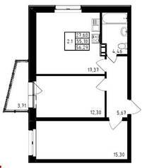 ЖК «Медем», планировка 2-комнатной квартиры, 56.29 м²