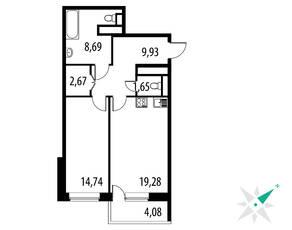 ЖК «Парковые Аллеи», планировка 1-комнатной квартиры, 59.80 м²