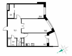 ЖК «Парковые Аллеи», планировка 2-комнатной квартиры, 78.00 м²
