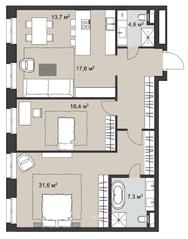МФК «ORDYNKA by BOSCO Casa», планировка 3-комнатной квартиры, 107.60 м²