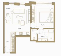 МФК «Roza Rossa», планировка 1-комнатной квартиры, 47.70 м²