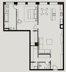 МФК «Mon Cher», планировка квартиры со свободной планировкой, 137.00 м²