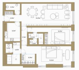 МФК «Roza Rossa», планировка 2-комнатной квартиры, 111.50 м²
