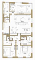 МФК «Roza Rossa», планировка 3-комнатной квартиры, 183.75 м²