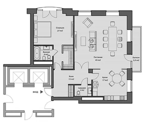 ЖК «Knightsbridge Private park», планировка квартиры со свободной планировкой, 116.00 м²