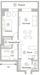 ЖК «Turandot Residences», планировка квартиры со свободной планировкой, 75.60 м²
