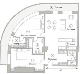 ЖК «Turandot Residences», планировка квартиры со свободной планировкой, 113.00 м²