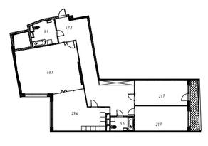 ЖК «Утёсов», планировка 3-комнатной квартиры, 187.00 м²