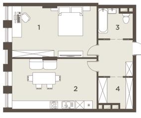 ЖК «The Mostman», планировка квартиры со свободной планировкой, 64.00 м²