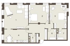 ЖК «The Mostman», планировка квартиры со свободной планировкой, 174.00 м²